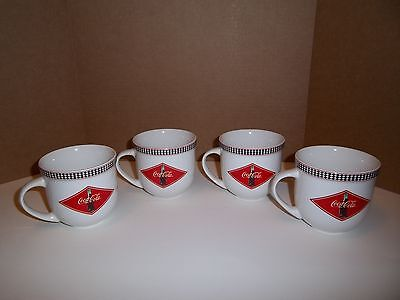 2003 Coca Cola Coke Brand Coffee Tea Mugs by Gibson Set of 4 Cups