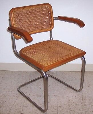 Vintage Mid Century Modern Cesca Arm Chair with Cane Caning Chrome