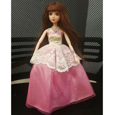 Doll Clothes for Barbie Party Tulle Strapless Gown Dress Skirt Outfit Pink
