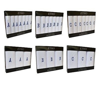 Mens 3-7 Pack White Cotton Handkerchiefs Personalised Initial Letter Monogrammed