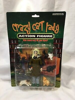 CRAZY CAT LADY Action Figure NEW with 6 CATS Accoutrements 2004