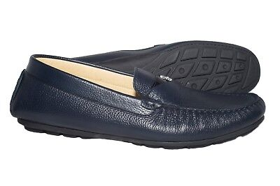Giovanni Conti 1702-01 Italian navy blu mocassins with logo GC