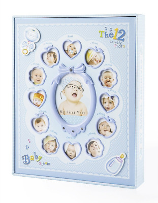 "FaCraft Baby Boy Photo Album Holds 240 Slots 4x6 Photos ""My First Year"" with Gif"