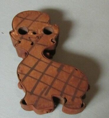 """Vintage Primitive Bolted Metal and Wood 5"""" Crafting Mold Smiling Puppy Dog"""