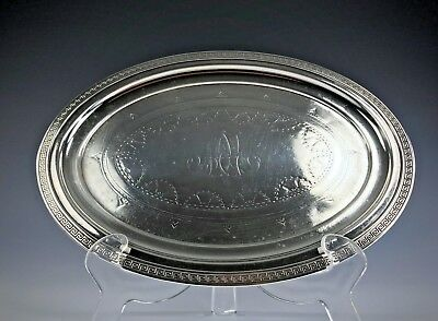"""GORHAM Sterling Silver Card Receiving Tray 9"""" by 6.5"""" Oval Engraved Design 1868"""