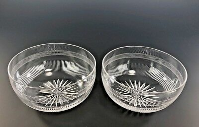 Cut And Engraved Finger Bowls Star Cut Bottoms Rayed Sides TWO PIECES