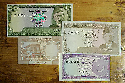 4 different Pakistan 1970's-80's 1, 2, 5 and 10 Rupees Au-Unc. -bank pinholes