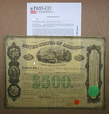 1866 Mexico President Santa Anna $500 Mexican Bond Stock Share NOT Black Eagle