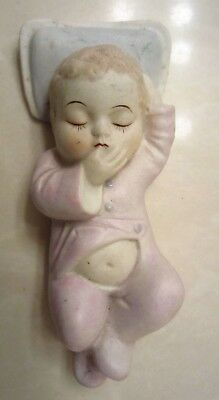 Adorable Vintage Occupied Japan Porcelain Sleeping Baby On Pillow