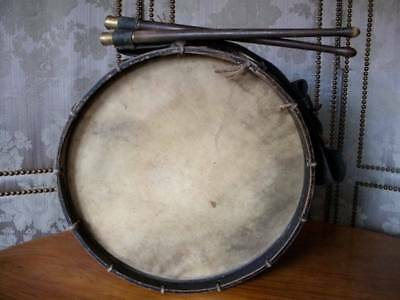 Antique French Brass & Wood Drum Complete With leather Shoulder Harness