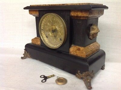 Vintage Antique Seth Thomas Lady Goddess Gold Face Adamantine Mantle Clock
