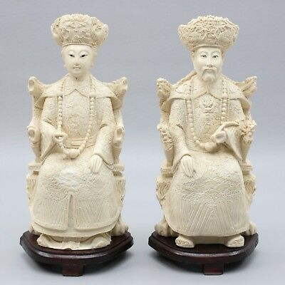 "Vtg 12"" Pair Chinese Emperor Empress Asian Figure Couple Statues Reproductions"