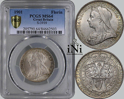 iNi Great Britain, Victoria, Florin, 2 Shillings, 1901, nicely toned, PCGS MS 64