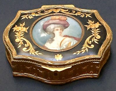 Antique Unique French Box Ormolu And Miniature Painting Signed