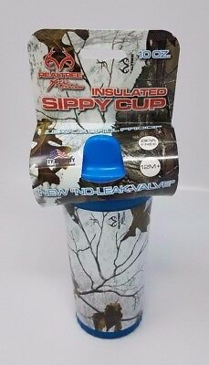 Mossy Oak/Real Tree Camo Insulated Dbl Wall Blue Sippy Cup - Free Shipping New