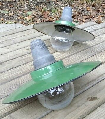 "Pair of 16"" Ivanhoe industrial lights explosion proof flat brim antique *SCARCE*"