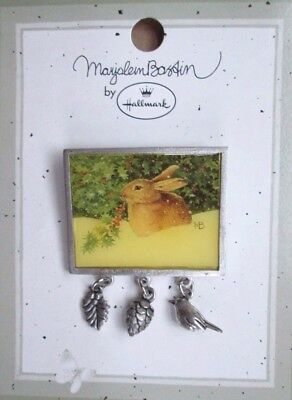 Marjolein Bastin RABBIT In Winter Holiday PIN Brooch - 3 Silvertone Charms MOC
