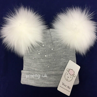 Wee Me Stunning Baby Grey Double Fur Pompom Hat/ Faux Fur Pom