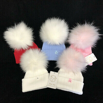 Wee Me Stunning Baby Red Fur Pompom Hat with Diamantes /Faux Fur Pom
