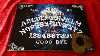 Wooden Ouija Board Spirit Skull & Planchette ghost hunt Instructions Witch