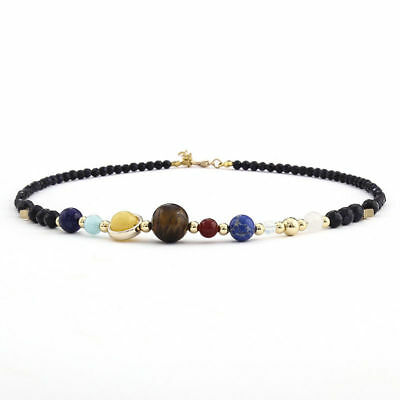 Hot Necklace Galaxy Eight Planet Solar System Stone Beads Chain Jewelry XMS Gift