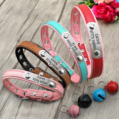 Personalized Dog Collar PU Leather Custom Pet Cat Puppy Name Collar&Bell XS S M