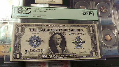 1923 Fr 238 * Star Note * $1 Silver Certificate Pcgs Ef 45 Ppq