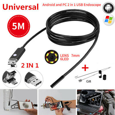 Android Borescope USB Endoskop Inspection Camera Endoscope 7MM 5M 6LED IP67 2IN1