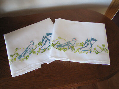 Vintage Pair of Pillowcases Embroidered Blue Birds & Scrolling Leaves So Pretty
