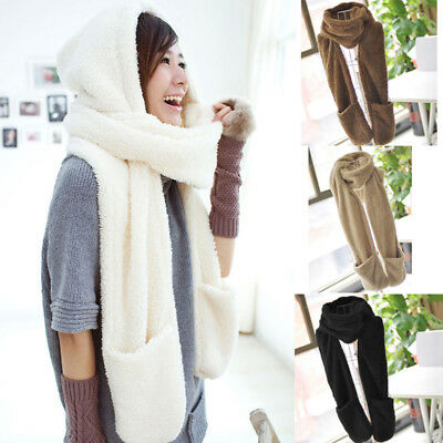 Women Hooded Scarf Gloves Hat 3 in 1 Set Warm Soft Plush Chic Series Shawl Cap~