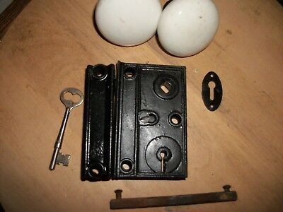 Cast Iron -Antique-Old-Vintage-  Rim Lock Set - & Key-Door Hardware # S