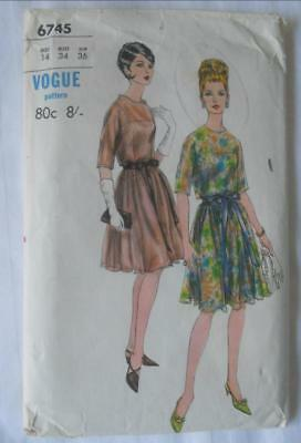 Vintage Early 1960'S Vogue Sewing Pattern 6745 Evening Dress 14 34 Inch Bust