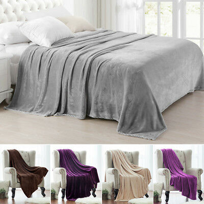 Super Soft Luxurious Fleece Throw Blanket 12 Solid Colors Queen & Full Size
