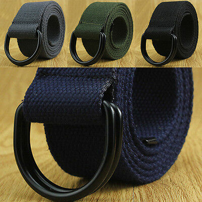 Mens Womens Canvas Belt with Double D Ring Metal Buckle Fashion Waistband ~
