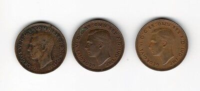 United Kingdom 3X Half Penny 1939/ 42/ 45