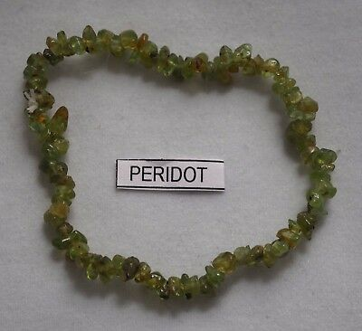 Peridot Crystal Gemstone Chip Bracelet Strength Protect Stretch Band Gift