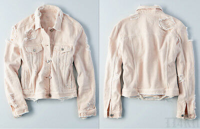 American Eagle Womens Classic Distressed Destroyed Light Pink Denim Jean Jacket