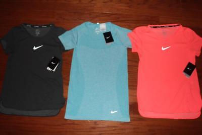 Lot 3 Nike Dri-Fit Aeroreact Womens Running Shirts Athletic Tees $255 Small Nwt
