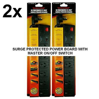 2 X New 6 Way Surge Protected Power Board 6 Outlets With Master On / Off Switch