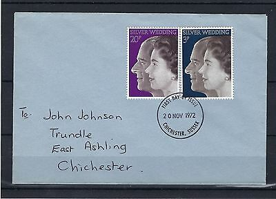 *gb 1972 Qe2 Silver Wedding Set On Cover First Day Of Issue Post Free To The Uk.