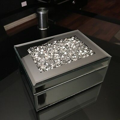 Glass Silver Mirrored Large Diamante Crushed Jewels Jewellery Box Bedroom Gift