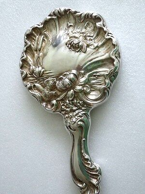 """Antique Art Nouveau Ornate Sterling Silver Plated 10"""" Water Lilies Hand Mirror"""