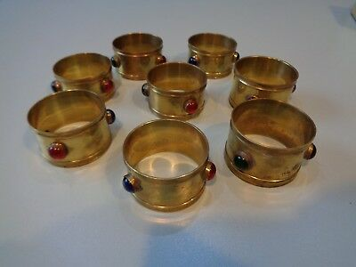 Vintage Brass Arts And Crafts? Napkin Rings Set 8 With Inset Stones Gothi Table