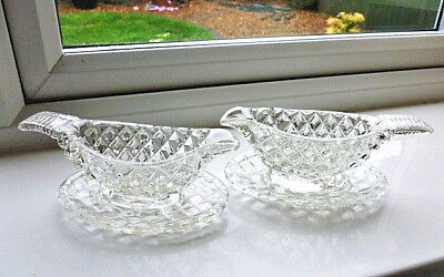 Pair of Vintage Pressed Glass Sauceboats and Saucers