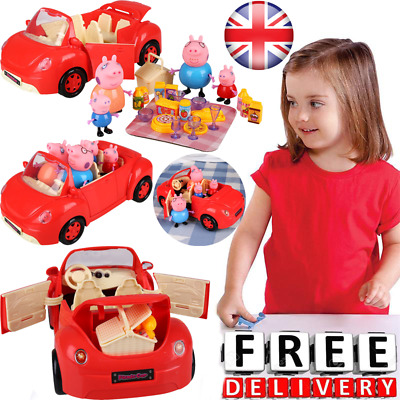 Kids Christmas Gifts Peppa Pig Family Pig with Red Car & Picnic Cartoon Pig Toys