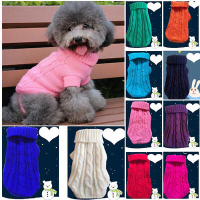 Small Pet Dog Cat Knitted Jumper Winter Warm Sweater Puppy Coat Jacket Clothes