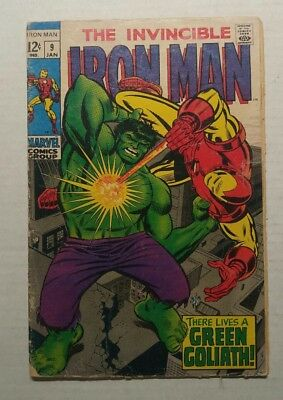 The Invincible Iron Man #9 (1968 Marvel) Hulk Cover