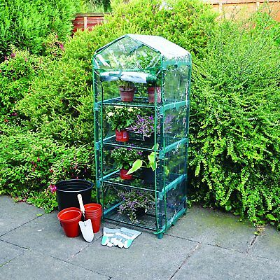 4 Tiers Greenhouse Garden Storage Plant Tall Apex Green Hot House PVC Cover 1.6M