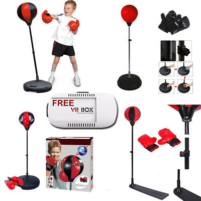 KIDS ADULT BOXING PUNCH BALL GLOVES SPORT ADJUSTABLE FREE STANDING w FREE VR BOX