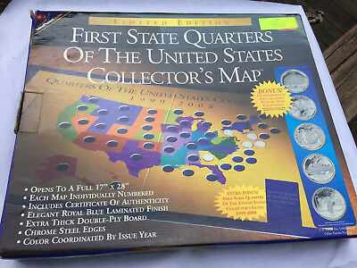 First State Quarters Of The United States 1999-2008 Collector's Map New In Box